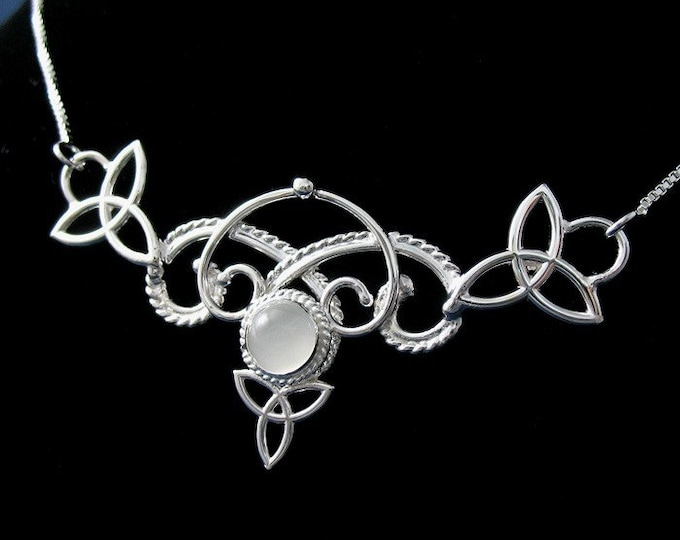 Victorian Celtic Necklace, Elvish Gemstone Necklace / Sterling Silver Renaissance Necklace with 8mm Gem, Gifts for Her, Wedding Accessory