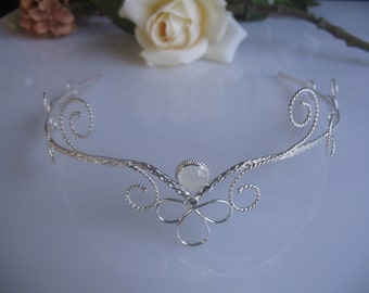 Fae Circlet, Wedding Fantasy Headpiece, Classic Renaissance Tiara, Handfasting Circlet, Sterling Silver, Handmade Wedding Gemstone Tiara