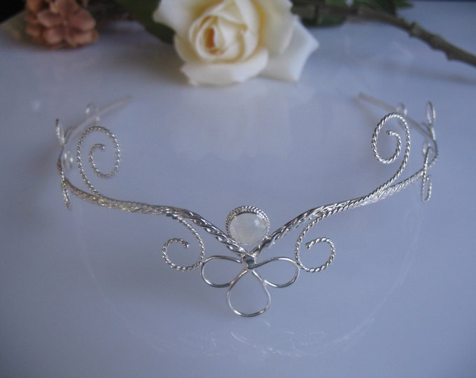 Fae Circlet, Wedding Fantasy Headpiece, Classic Renaissance Tiara, Handfasting Circlet, Sterling Silver, Handmade Wedding Gemstone Tiara
