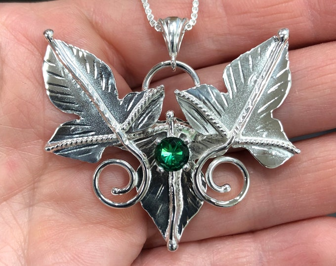 Woodland Leaf Emerald Sterling Silver Necklace, Elvish Necklaces, Rustic Leaf Necklace Gemstone, 16 inch Box Chain 925, Bohemian Style