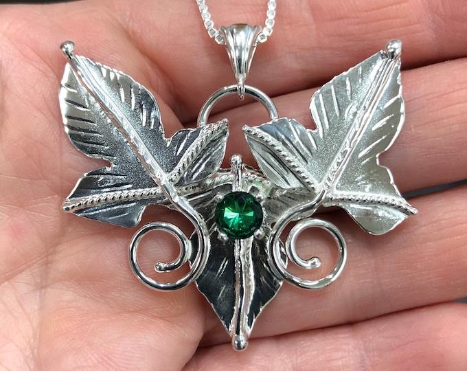 Woodland Leaf Gemstone Sterling Silver Necklace, Elvish Fae Necklaces, Rustic Leaf Necklace Gemstone, 16 inch Box Chain 925, Bohemian Style
