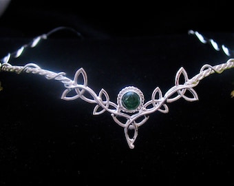 Celtic Irish Wedding Circlets, Celtic Bridal Tiaras, Sterling Silver Trinity Knot Diadem, 8mm Cabochon, Sterling Silver Handmade Tiara