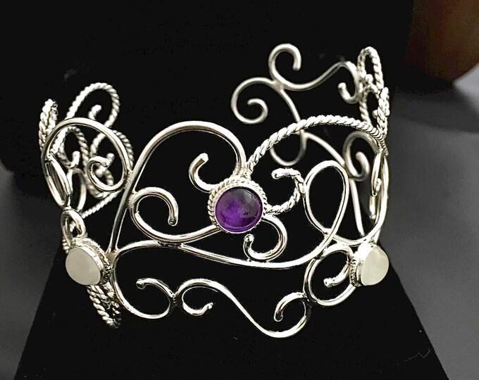 Bohemian Sterling Silver Gemstone Bracelet Cuff in Sterling Silver, Elvish Cuff Bracelet, Bracelet Cuff with Gemstones, Victorian Cuffs