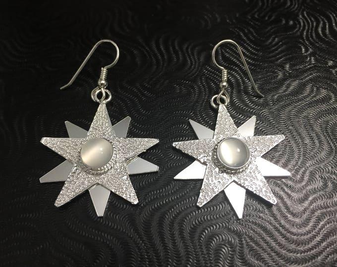 Large Star Gemstone Earrings in Sterling Silver, Celestial Dangle Star Earrings, Handmade Star Earrings with 8mm Moonstones