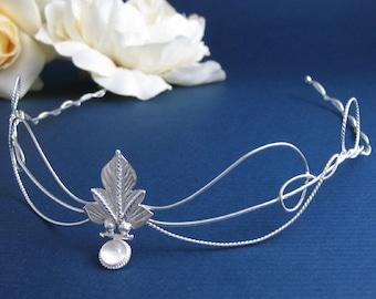 Elvish Woodland Leaf Wedding Bridal Circlet, Middle Earth Headpiece,  Leaf Moonstone Circlet, Sterling Silver Handmade