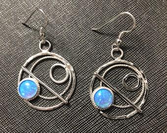 Blue Opal Hoop Earrings in Sterling Silver, Celestial Earrings, Artisan Silver Circle Earrings, Eternity Circle Double Hoop Earrings