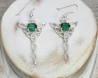 Celtic Knot Dangle Emerald Earrings In Sterling Silver, Celtic Drop Earrings, Sapphire Drop Earrings, Gifts For Her, Celtic Jewelry