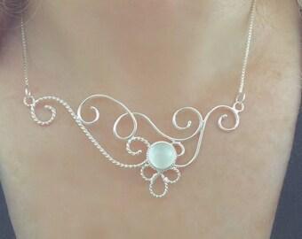 Victorian Edwardian Wire Necklace Sterling Silver, Elvish OOAK Necklaces, Handmade Necklace with Gemstone, Renaissance Wedding, OOAK