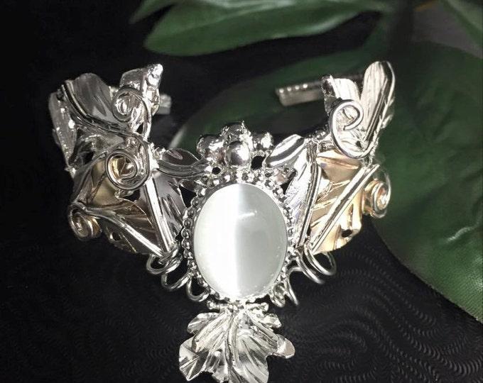 Woodland Leaf Bracelet Cuff Elvish Inspired Woodsy Cuff Bracelet Handmade, Bohemian Bracelet, Artisan Jewelry Bracelets