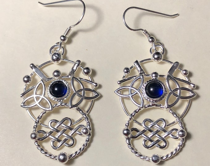 Celtic Knot Hoops Earrings in Sterling Silver, Celestial Earrings, Artisan Abstract Earrings, Eternity Circle Double Hoop Earrings, Hoops