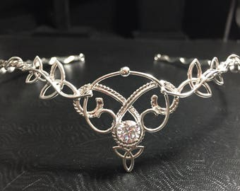 Celtic Knot Bridal Tiaras, Bohemian Celtic Wedding, Woodland Bridal Tiara, Sterling Silver wedding circlet, Celtic Wedding, Irish Wedding