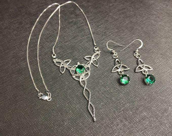 Celtic Knot Necklace and Earrings Jewelry Set, Irish Wedding Jewelry Sets, Celtic Knot Necklace with Gemstone, Drop Earrings, Irish Wedding