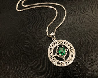 Irish Emerald Celtic Necklace with an 18 inch Box Chain, Irish Trinity Knot Celtic Gemstone Necklace,  Valentine's Day Gift for Her Necklace