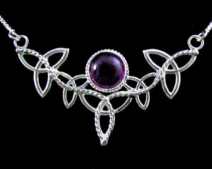 Celtic Knot Amethyst Necklace in Sterling Silver, Irish Jewelry, Wedding Accessories, Gifts For Her