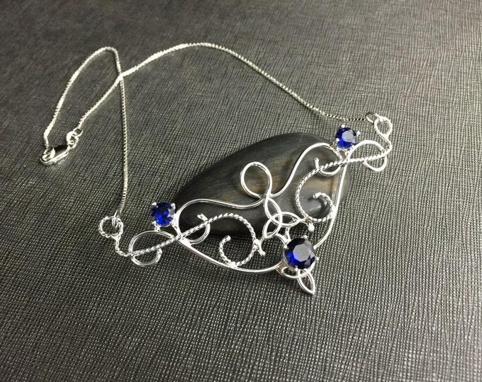 Renaissance Necklaces, Victorian Gemstone Necklaces, Renaissance Necklace, Sterling Silver Celtic Knot Renaissance Sapphire Necklace OOAK