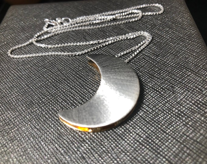 Crescent Moon Stevie Nicks Style Necklace in Gold and Silver, Artisan Celestial Moon Necklace, Solid 20 gauge, Half Gold Half Silver