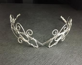 Woodland Elvish Wedding Circlet, Sterling Silver Renaissance Tiara, Alternative Bridal Accessories, SCA Circlets, Artisan Circlets