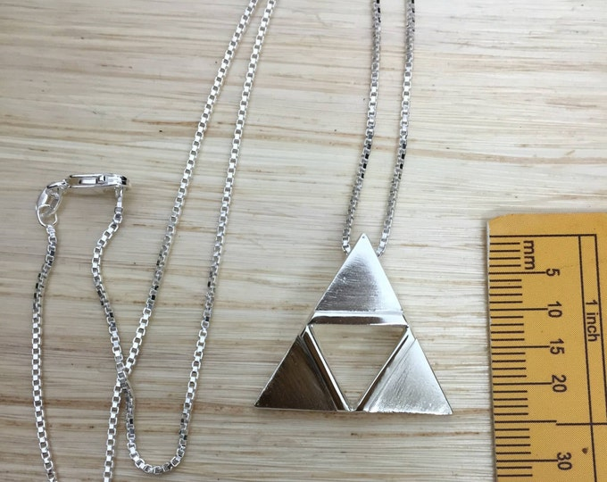 Zelda TriForce Necklace in Sterling Silver, TriForce Cosplay Necklace, Legend of Zelda Jewelry, Gifts For Her