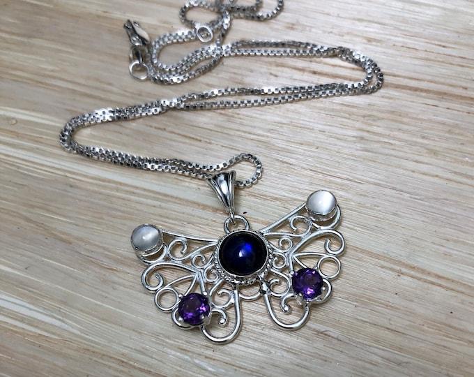 Butterfly Necklaces, Bohemian Butterfly Jewelry, Butterfly Gemstone Necklaces in Sterling Silver, Art Nouveau Butterfly Jewelry
