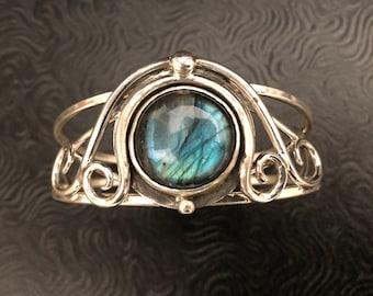 Sterling Silver Art Nouveau Artisan Bracelet Cuff with Labradorite Cabochon, Statement Bohemian  Cuff Bracelet