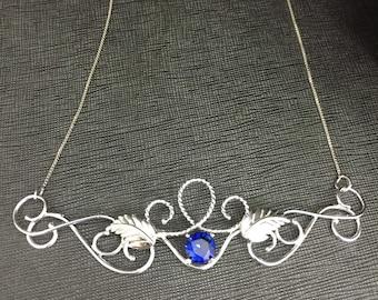 Renaissance Leaf Necklace in Sterling Silver, Elegant Wedding Necklaces, Romantic Bridal Necklaces, Woodland Necklace, Elvish Necklaces