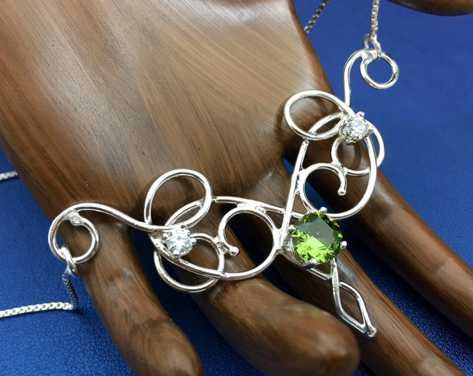 Bohemian Renaissance Peridot Necklace in Sterling Silver Handmade Wire Work Necklace, Elvish Necklaces, Gifts For Her