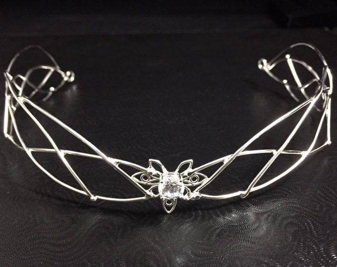Tiaras, White Topaz Bridal Circlets in Sterling Silver, Wedding Elvish Headpiece, Bohemian Handmade Artisan Cosplay SCA Headpiece