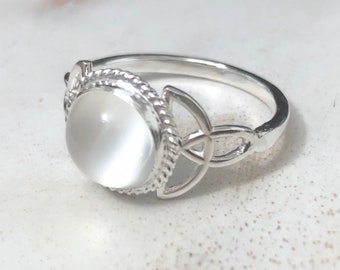 Moonstone Celtic Sterling Silver Ring, Irish Celtic Knot Rings with Gemstone, Handmade Irish Trinity Knot Moonstone Rings