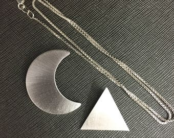 Crescent Moon Necklace, Stevie Nicks inspired Pyramid Necklace, Stevie Nicks Style Crescent Moon and Pyramid Set, Sterling Silver Handmade