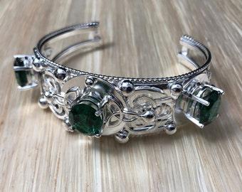Heavy Statement Celtic Bracelet Cuff, Wide Bracelet Cuff Handmade in Sterling Silver, Art Nouveau Bracelet Cuff Design with Gemstones