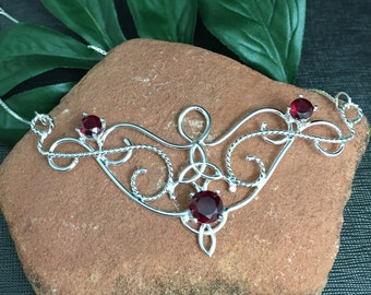 Celtic Victorian Garnet Necklace in Sterling Silver, Renaissance Statement Necklaces, Large Fae Bohemian Style Celtic Irish Necklaces, OOAK