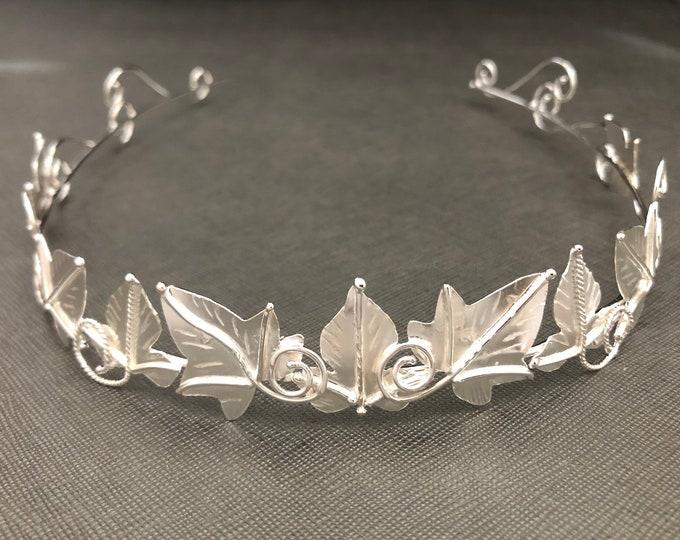 Woodland Leaves Sterling Silver Wedding Tiara, Bridal Headpiece Crown, Artisan Tiaras, Elvish, Gifts For Her, Alternative Bridal Accessory