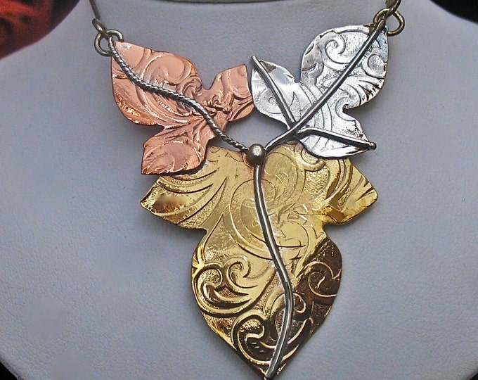 Large Statement Elvish-Inspired Necklace in Mixed Metals, Large Leaves Pendant Necklace, Handmade, Woodland Leaves Necklace