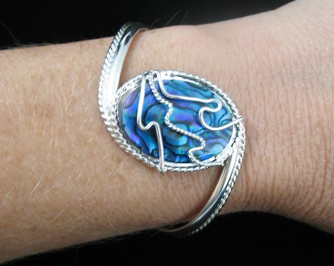 Blue Paua Shell Bracelet Cuff in Sterling Silver, Handmade Artisan Statement Cuff Bracelets, Wire Wrapped Gemstone Bracelets
