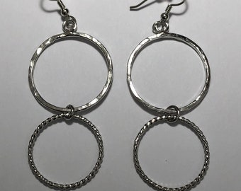 Cute Simple Hoop Earrings in Sterling Silver, Artisan Hammered Circle Earrings, Eternity Drop Earrings, Gifts For Her
