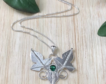 Woodland Leaf Gemstone Sterling Silver Necklace, Elvish Fae Necklaces, Rustic Leaf Necklace Gemstone, 16 inch Box Chain 925, Bohemian Style