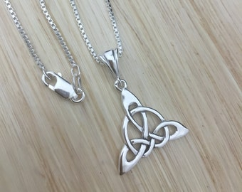 Celtic Triquettra Sterling Silver Necklace, Trinity Knot Necklace with 18 inch Sterling Silver Box Chain, Irish Symbolic Necklaces