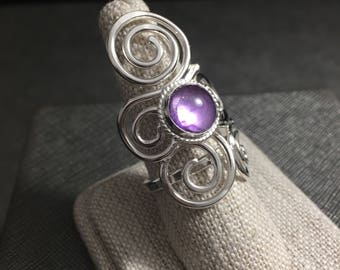 Boho Celtic Sterling 925 Silver Ring, Art Nouveau Statement Ring in Sterling Silver, Abstract Swirl Ring with 8mm Cabochon, Celtic