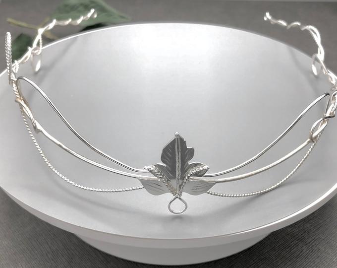 Elvish Wedding Bridal Circlet, Woodland Fae Wedding Headpiece, Sterling Silver Handmade Bridal Circlet with Leaves, Sterling Silver Handmade