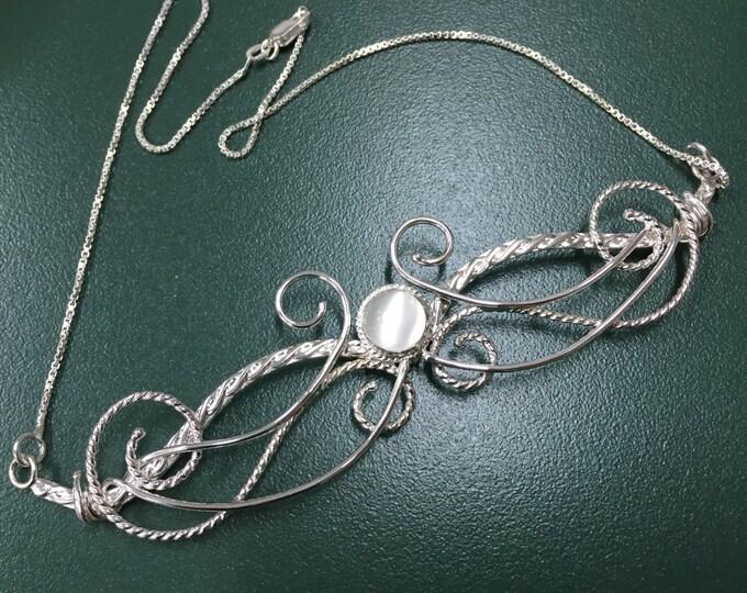 Large Bohemian Elvish Moonstone Necklace, OOAK Art Nouveau Fae Necklace, Victorian Style Renaissance Jewelry .925