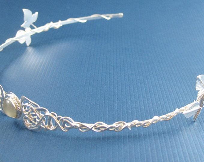 Celtic Wedding Moonstone Tiara, Irish Amethyst Circlets, Celtic Bridal Diadem, Sterling Silver