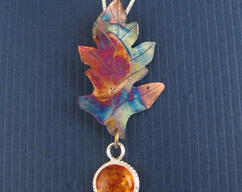 Fire Patina Copper Oak Leaf  Necklace with 10mm Amber Cabochon and Sterling Silver Box Chain