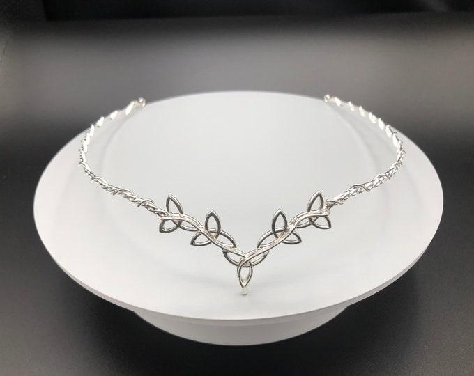 Celtic Trinity Knot Wedding Tiara in Sterling Silver, Artisan Irish Diadem, Celtic Weddings, SCA Hair Circlets, Handmade, Handfasting