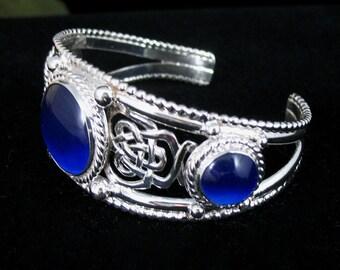 Celtic Bracelet Cuff, Sterling Silver Handmade Heavy Cuff Bracelet, Artisan Statement Gemstone Cuff Bracelet Jewelry, Artisan, OOAK