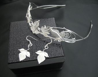 Artisan Woodland Tiara and Earrings in Sterling Silver Bridal Set, Handmade Wedding Accessories Set, Tiara and Earrings, Fae Wedding