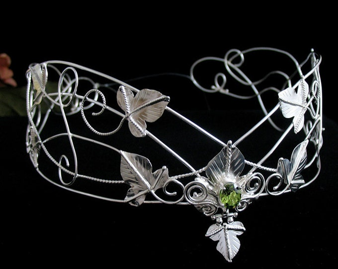 Woodland Artisan Wedding Crown in Sterling Silver, Leaf Circlet, Leaves Wedding Circlet, Middle Earth Headpiece in Sterling Silver