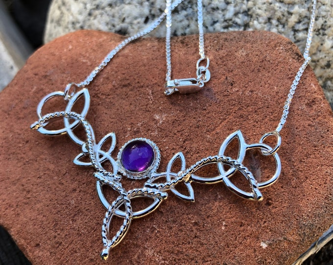 Amethyst Celtic Trinity Knot Necklace in Sterling Silver, Irish Symbolic Necklaces, Gifts For Her, Anniversary Gifts, Scottish Jewelry