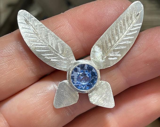 Legend of Zelda Navi Aquamarine Necklace in Sterling Silver, TriForce Cosplay Necklace, Legend of Zelda Jewelry, Gifts For Her
