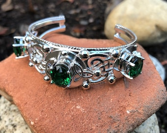 Celtic Bracelet Cuff With Emerald in Sterling Silver, Artisan Bracelet Cuff, Art Nouveau Bracelet Cuff Design with Gemstones