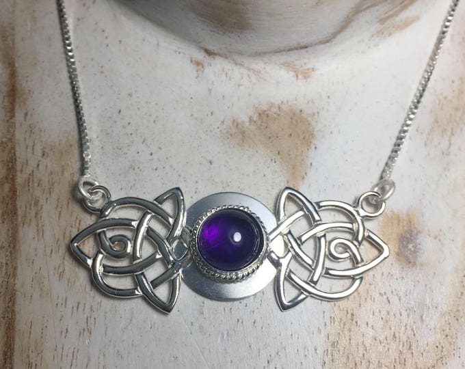 Irish Celtic Amethyst Necklaces, 925 Sterling Celtic Amethyst Cabochon Anniversary Gift For Her Necklace, Handmade Celtic Irish Boho Wedding